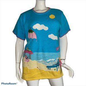 Quacker Factory beach theme sweater